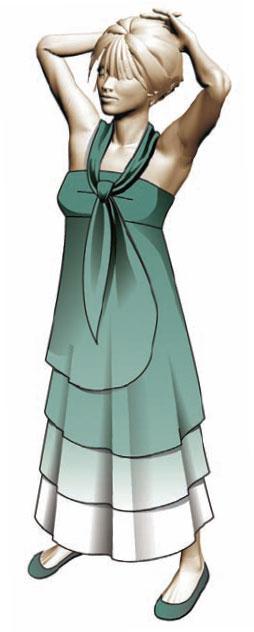 Модель удлиненного платья с галстуком. Илл. 07
