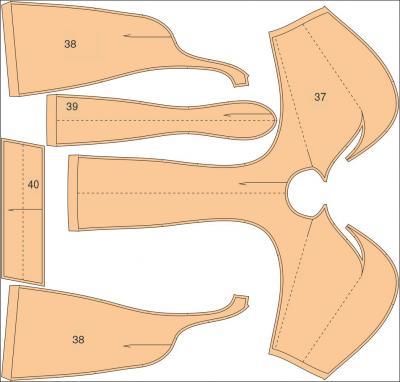 Илл. 05а. Раскладка лекал на ткани.: Расход ткани для платья составляет 1,80 м при ширине 160 см.