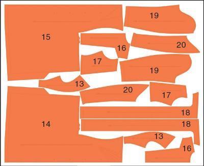 Раскладка лекал пальто 2: Расход ткани 1: 1,73 м при ширине 140 см