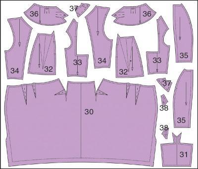 Раскладка лекал верха платья: Расход ткани 1,3 м при ширине 140 см