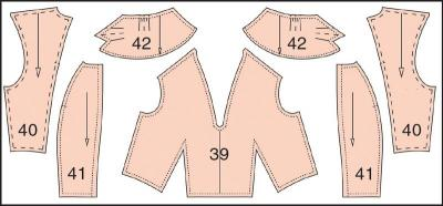 Раскладка лекал подкладки платья: Расход ткани 0,65 м при ширине 140 см