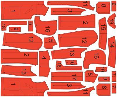 Раскладка лекал дафлкота: Расход ткани верха: 2 м при ширине 140 см