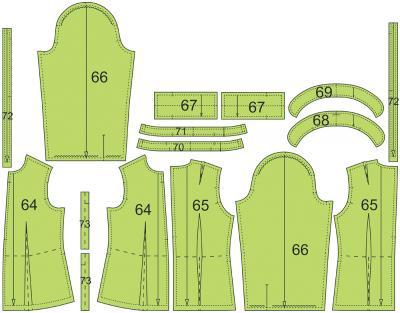 Раскладка лекал подкладки дафлкота: Расход ткани подкладки: 1,5 м при ширине 140 см