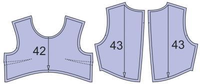 Раскладка лекал подкладки платья: Расход ткани подкладки: 0,5 м при ширине 140 см