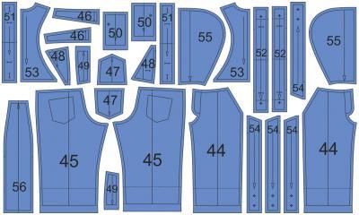 Раскладка лекал комбинезона: Расход ткани верха: 1,5 м при ширине 140 см