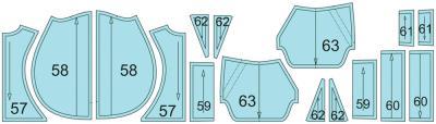 Раскладка лекал комбинезона: Расход отделочной ткани: 0,8 м при ширине 140 см
