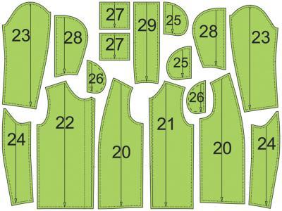 Раскладка лекал блузки: Расход ткани: 1,5 м при ширине 140 см