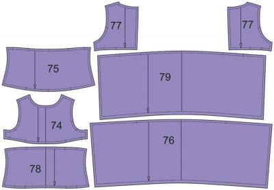 Раскладка лекал сарафана: Расход ткани верха: 1,1 м при ширине 140 см