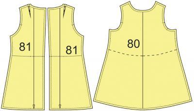 Раскладка лекал сарафана: Расход ткани подкладки: 1 м при ширине 140 см