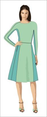 Илл. 01 Женское платье прилегающего силуэта из шерстяного джерси
