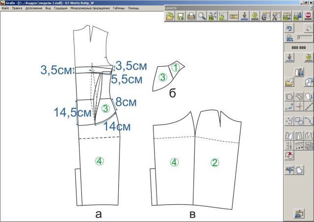 Илл. 04. Модельная конструкция спинки и боковой части платья