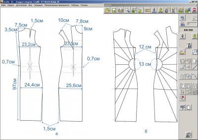 Илл. 02. Базовая (а) и исходная модельная (б) конструкции платья