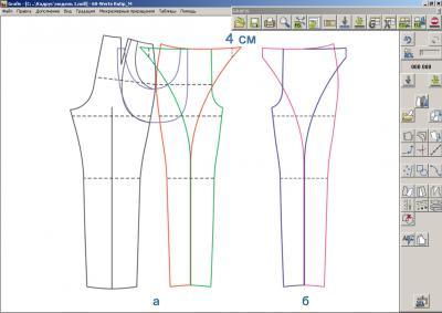 Модельная конструкция брюк: (а – левая передняя половинка брюк, б – правая передняя половинка брюк)